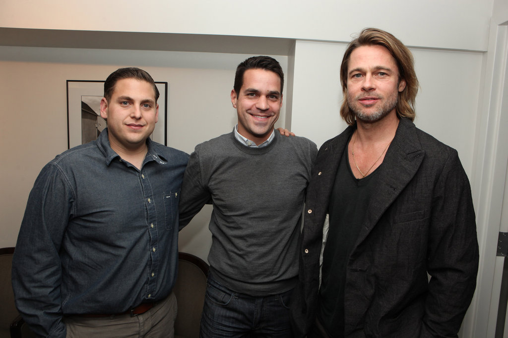 Jonah Hill, EW's Dave Karger, and Brad Pitt at a Columbia Pictures Moneyball screening at the Cary Grant Theatre at Sony Pictures Studios on Sunday.
