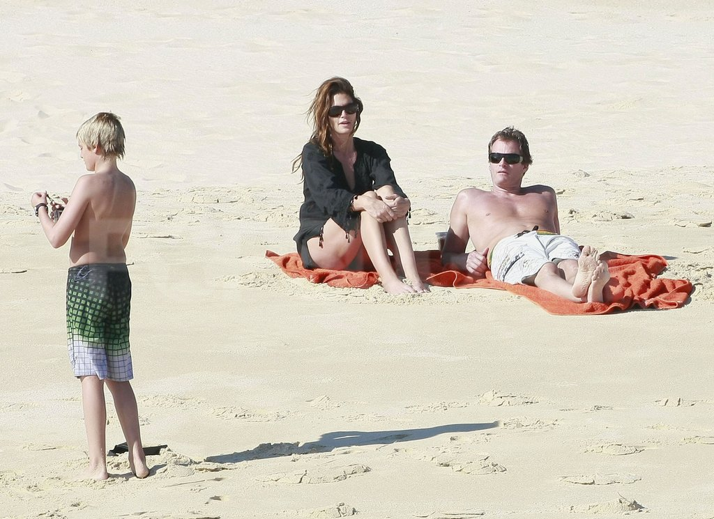 Cindy Crawford and Rande Gerber wore sunglasses on the beach in Mexico.