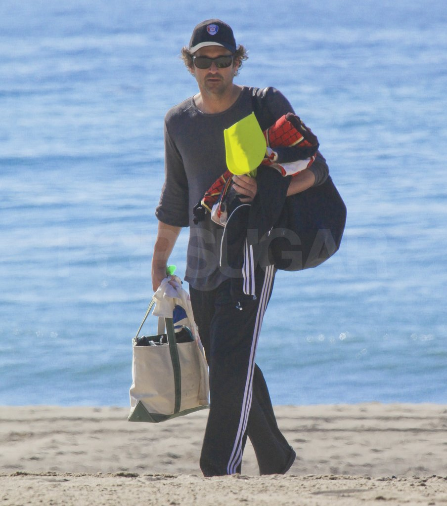 Patrick Dempsey was in charge of toting all the beach gear back to the car.