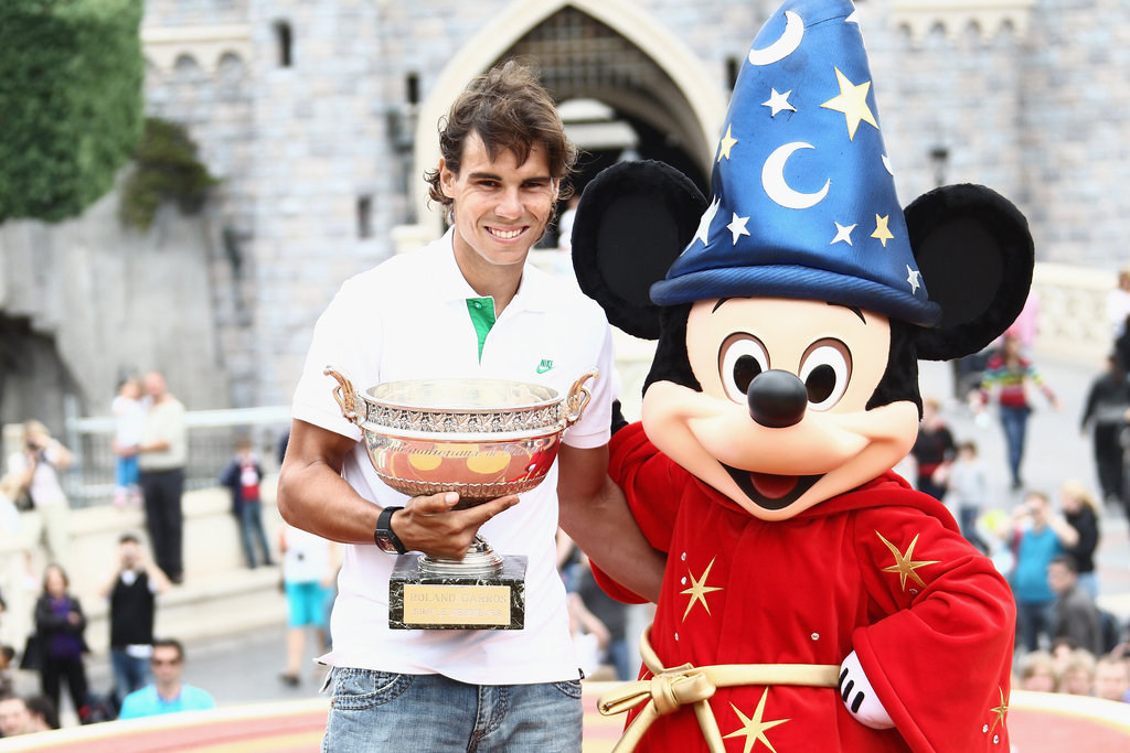 Rafael Nadal celebrated his French Open win at Disneyland Paris in June 2011.