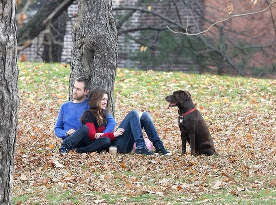 Adam Shulman and Anne Hathaway celebrated their engagement with their dog, Esmeralda.