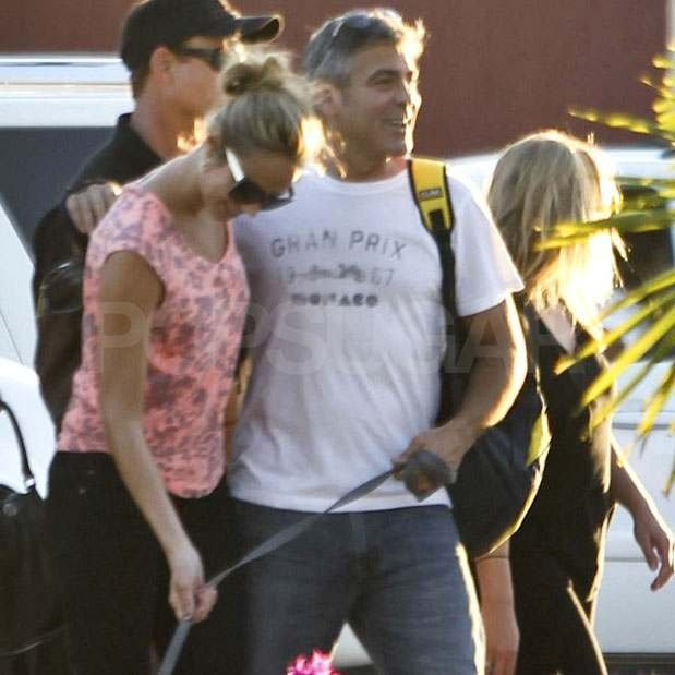 George Clooney with Stacy Keibler in Mexico.