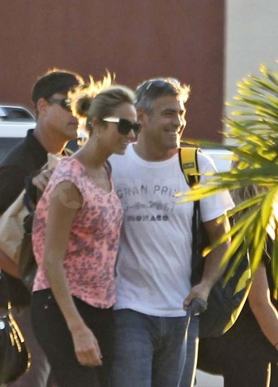 George Clooney and Stacy Keibler Jet Out of Mexico Arm in Arm