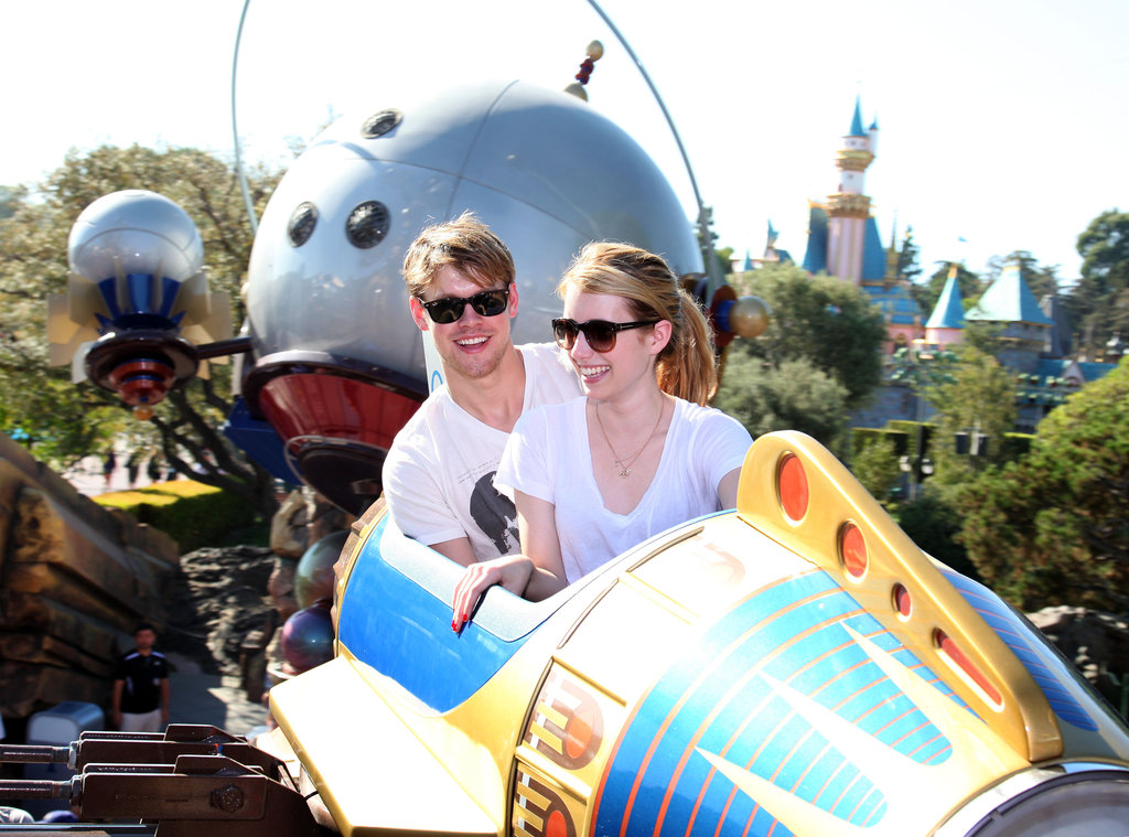 Chord Overstreet and Emma Roberts soared on a space shuttle during an August visit to Disneyland in August 2011.
