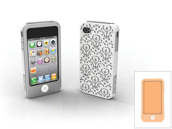 Bordeaux iPhone 4/4S case with papaya and platinum inner wraps and outer Bordeaux pattern shell.
