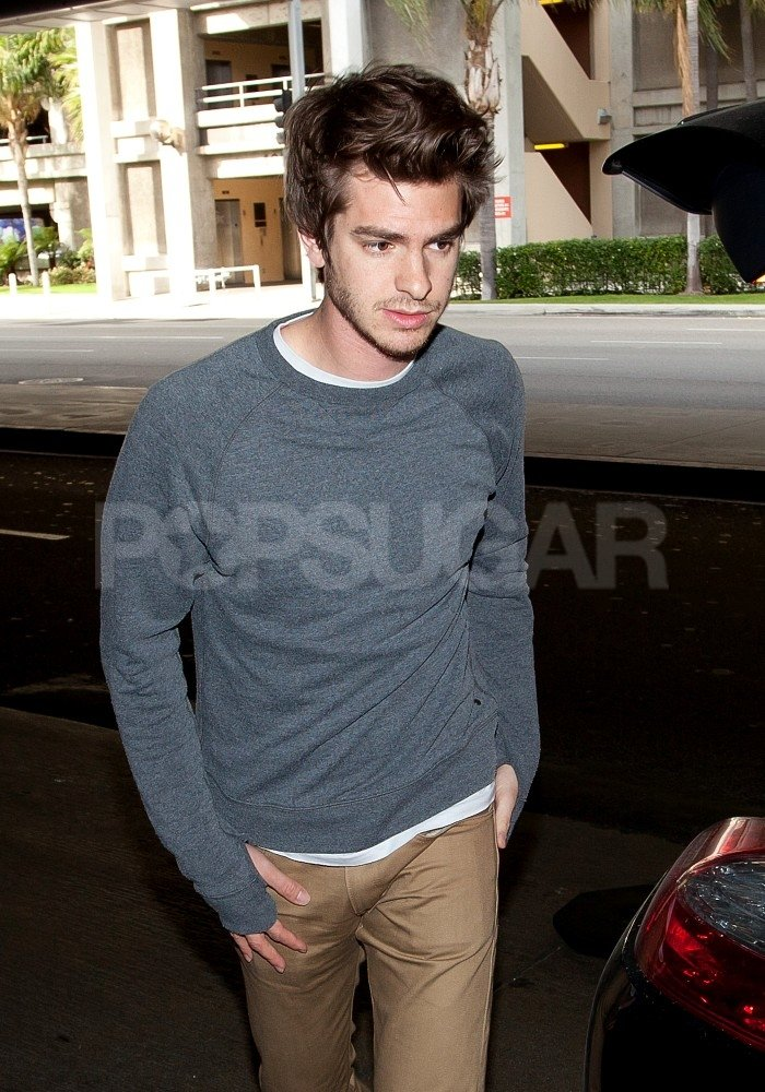 Andrew Garfield flew into LA with Emma Stone.