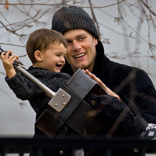 Tom Brady and Benjamin on the Swings at Park Pictures