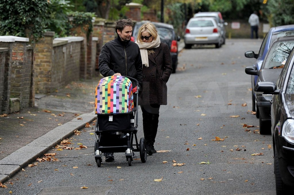Matt Bellamy and Kate Hudson took baby Bing on a walk through London.