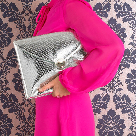Violet May Silver Python Laptop Clutch ($194)