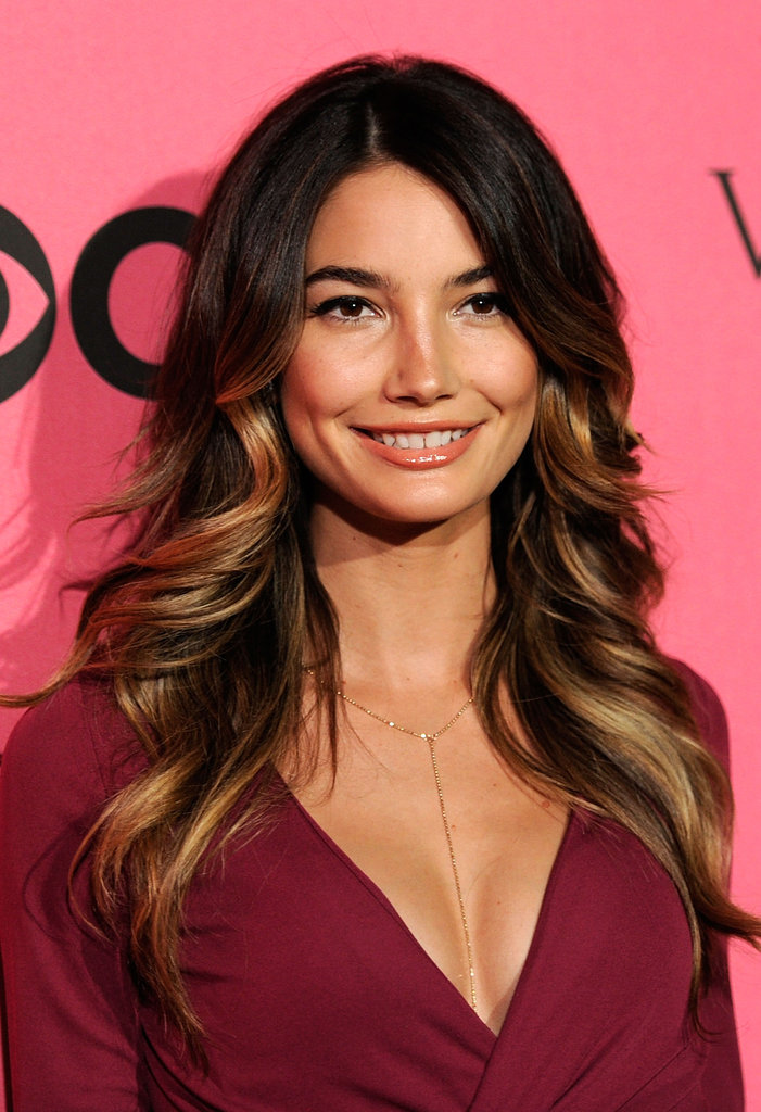 Lily Aldridge sported a plunging neckline for the Victoria's Secret Fashion Show viewing party.