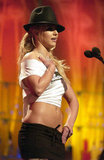 Britney Spears's abs were on display at an MTV show in June 2003.