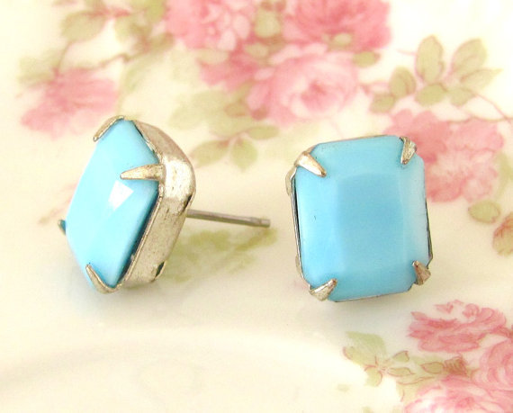 We love this sweet of studs — and love even more that they're under $15. Chunky Vintage Aqua Blue Faceted Glass Rhinestone Post Earrings ($14)