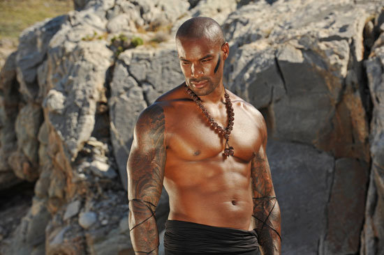 A shirtless Tyson showed off his abs during the shoot.  Photo courtesy of The CW