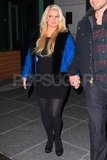 Jessica Simpson wore a short blue jacket to dinner.