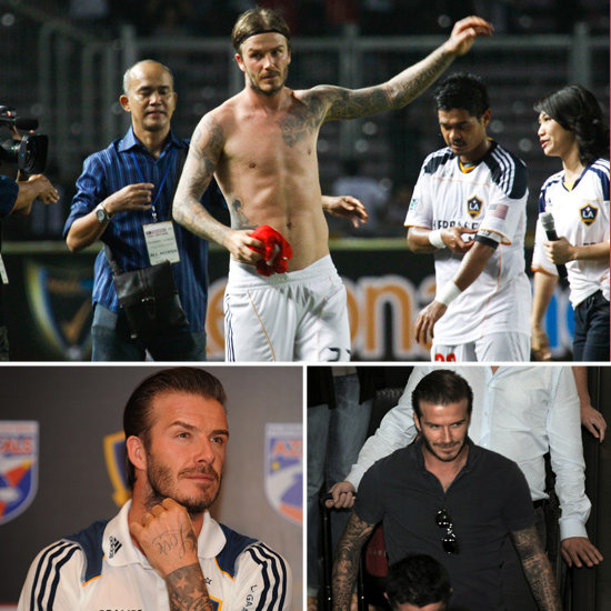 David Beckham Shows What's Underneath His Shirt in Indonesia