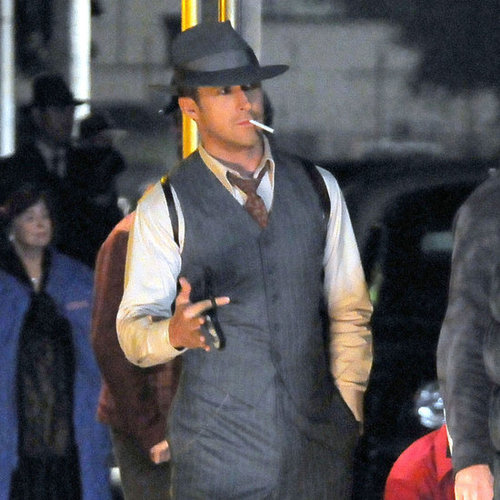 Ryan Gosling Holding Gun on Set of Gangster Squad Pictures