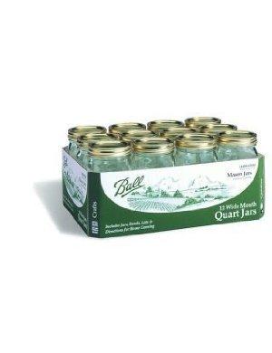 12 Ball Wide-Mouth Mason Canning Jar 1 Qt.