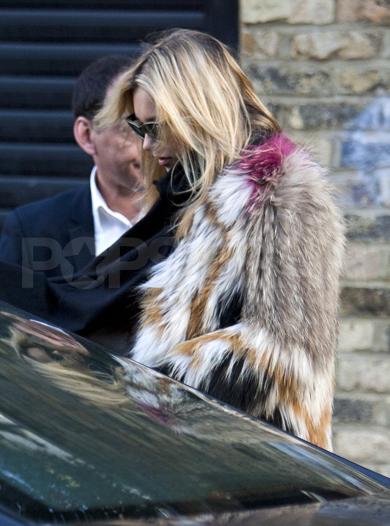 Kate Moss hopped into a car to go run errands.