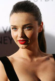 Miranda Kerr swept her hair up in a ponytail for a fashion event in Australia.