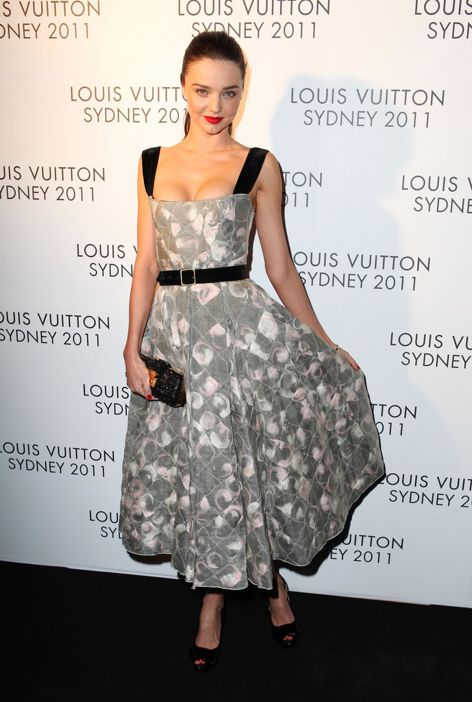 Miranda Kerr wore Louis Vuitton to a party for the design house in Sydney.