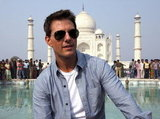 Tom Cruise looked happy to visit the Taj Mahal.
