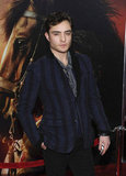 Ed Westwick wore a striped blazer to a movie premiere in NYC.