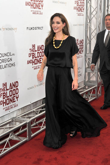 Angelina Jolie wore a full length dress.