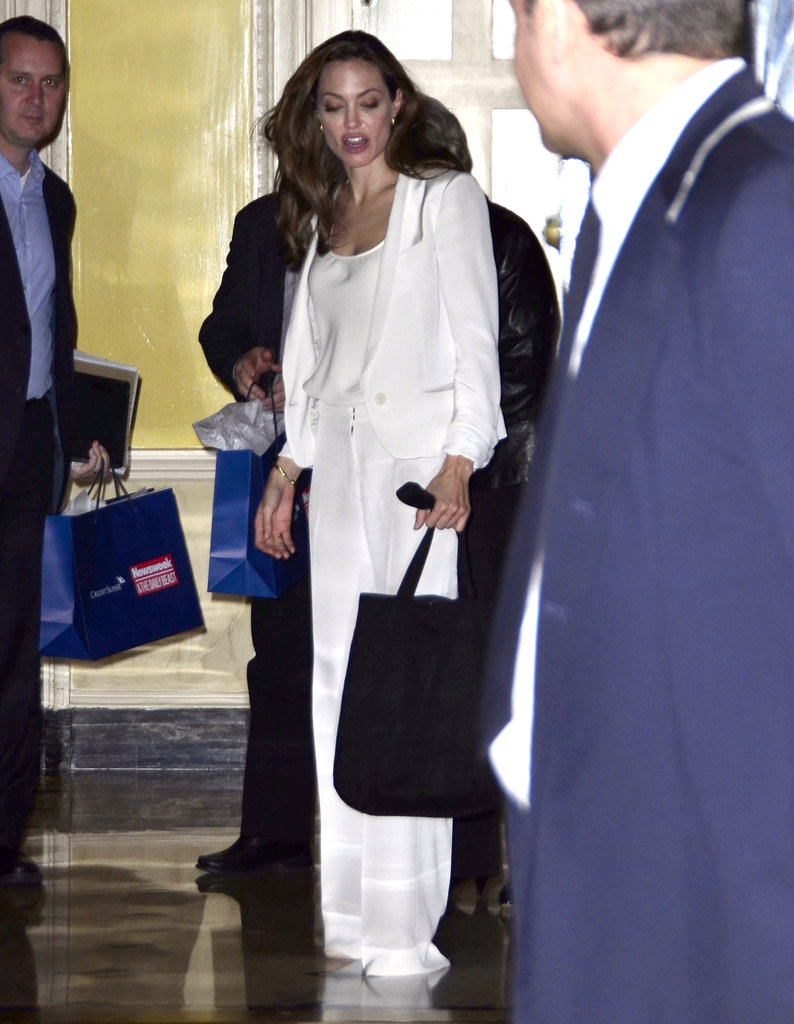 Angelina Jolie started her day bright and early in NYC.