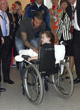 David Beckham signed tons of autographs at the children's hospital.