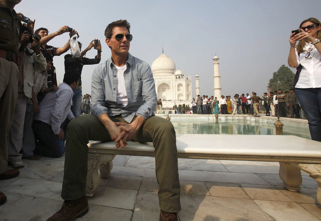 Tom Cruise posed at the Taj Mahal.