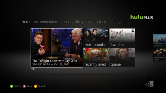 Hulu Plus's updated dashboard on Xbox Live.