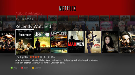 Netflix's updated dashboard on Xbox Live.