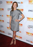 Jayma Mays took the sophisticated route in a gray shift dress with beautiful embellished sleeves at Trevor Live.