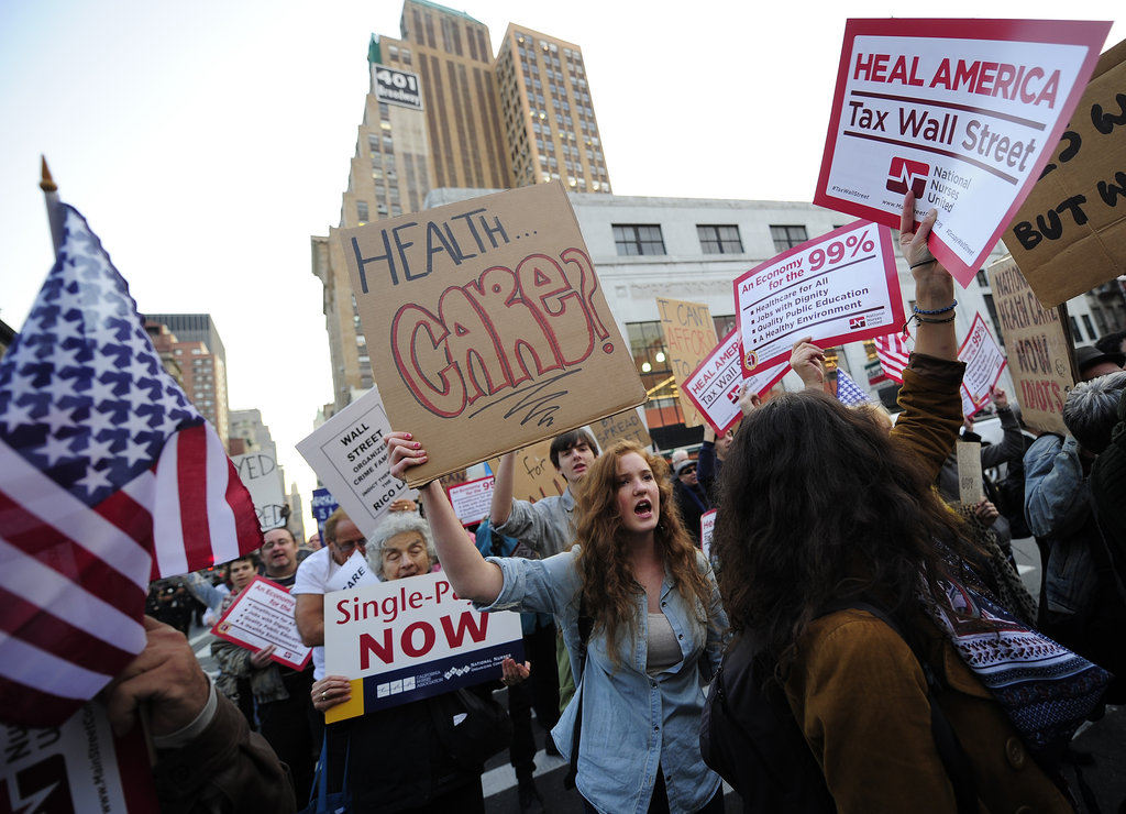 Occupy Wall Street protestors called for universal healthcare in New York.