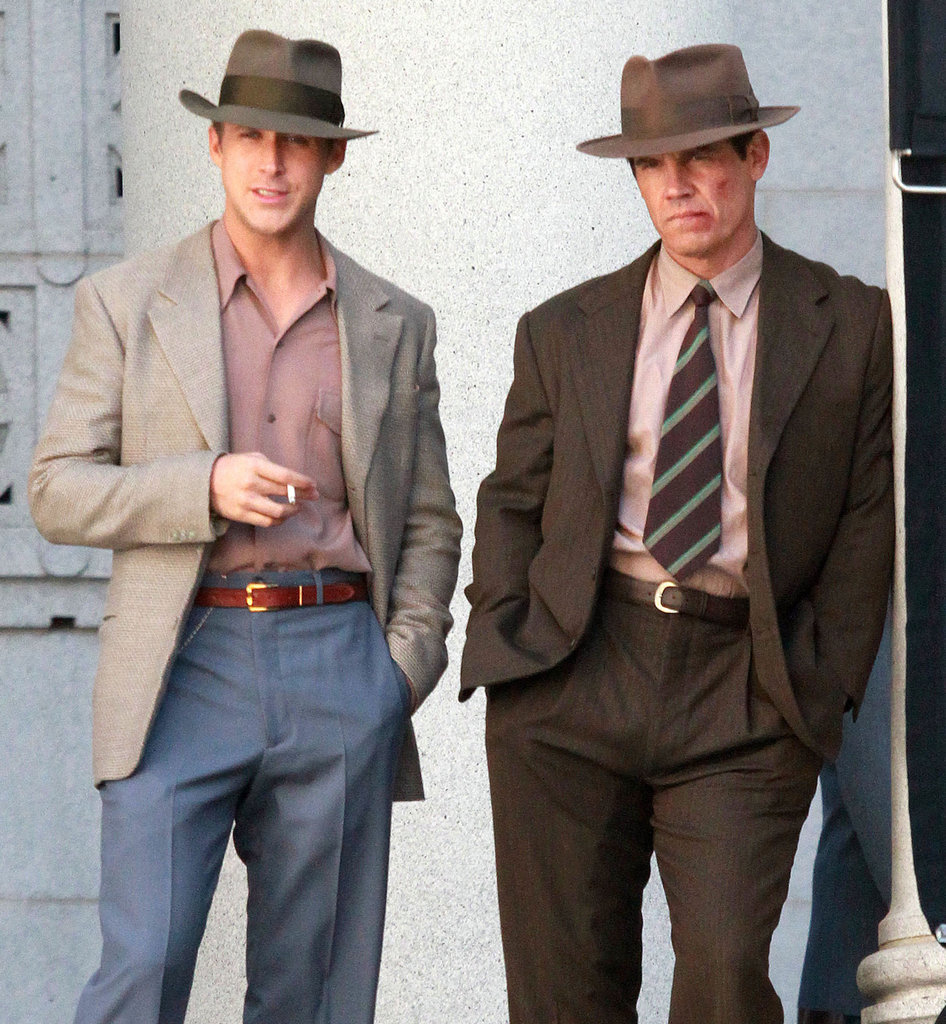 Ryan Gosling and Josh Brolin looked good on the Gangster Squad set in LA.