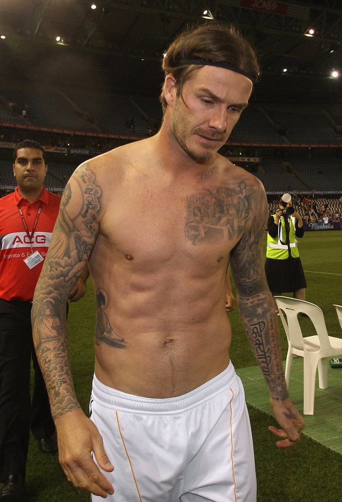 David Beckham showed off his seriously ripped abs.