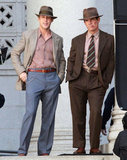 Ryan Gosling and Josh Brolin had downtime on the Gangster Squad set in LA.