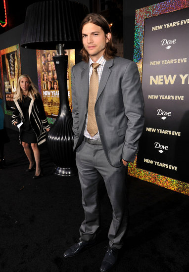 Ashton Kutcher arrived at the premiere of his new film, New Year's Eve.