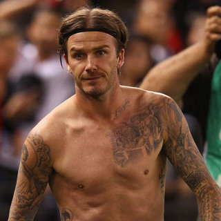 Harper Beckham and David Beckham Shirtless Pictures