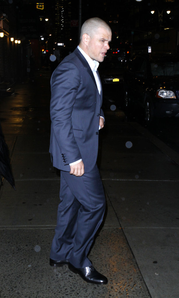Matt Damon braved the rain in NYC.