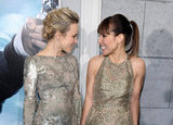 Rachel McAdams and Noomi Rapace admired each other's metallic dresses.