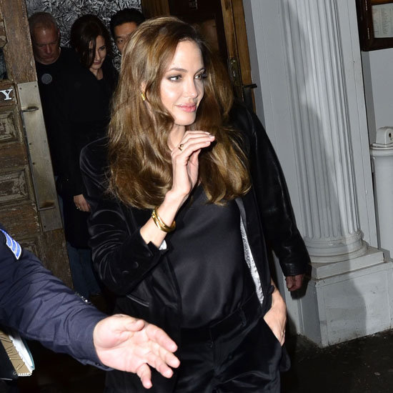 Angelina Jolie wore a monochrome black suit to dinner.
