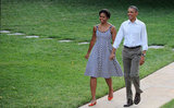 Michelle's practically skipped on her way to the Congressional Picnic at the White House in June.