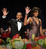 The Obamas flashed matching waves at the White House Correspondents' Association annual dinner.