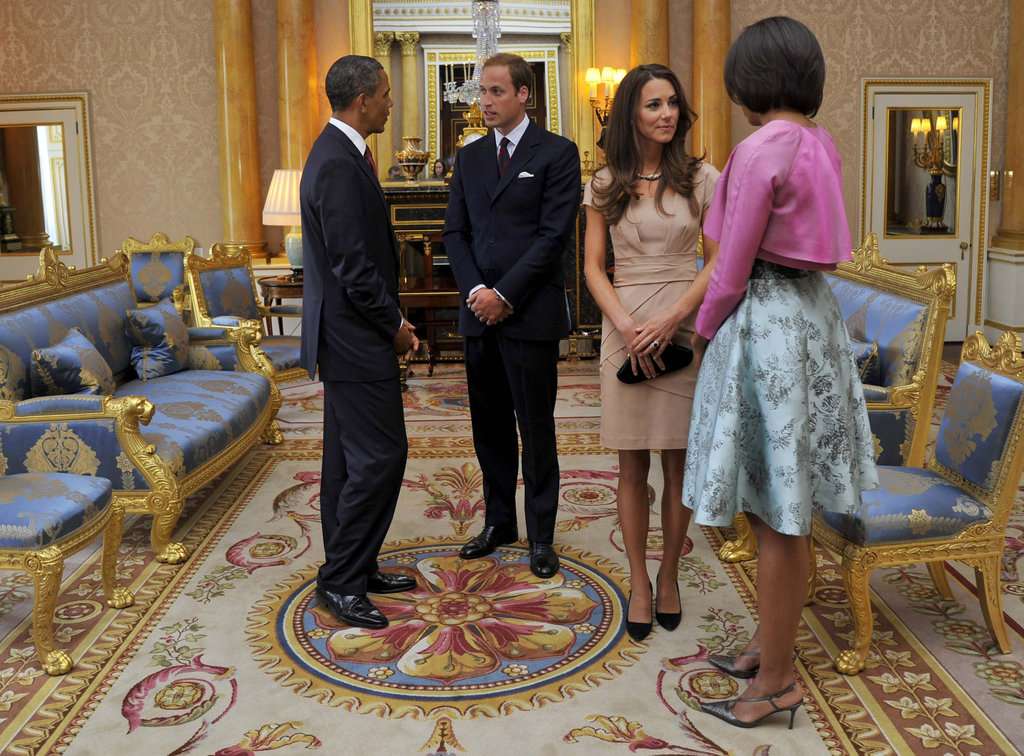 The Obamas discuss Will and Kate's Summer trip to California during a visit to Buckingham Palace.