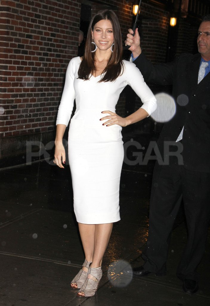 Jessica Biel wore Winter white in NYC.