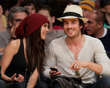 Nina Dobrev joined Ian Somerhalder at the May 2010 NBA Playoffs held at LA's Staples Center.