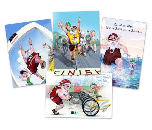 Competed in a tri or just love to run, bike, or swim? There's a Santa card for almost every fitness fanatic in this set.   TriSanta Variety boxed card set ($15 for 12 cards)