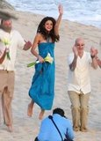 Selena Gomez jumped with groomsmen.