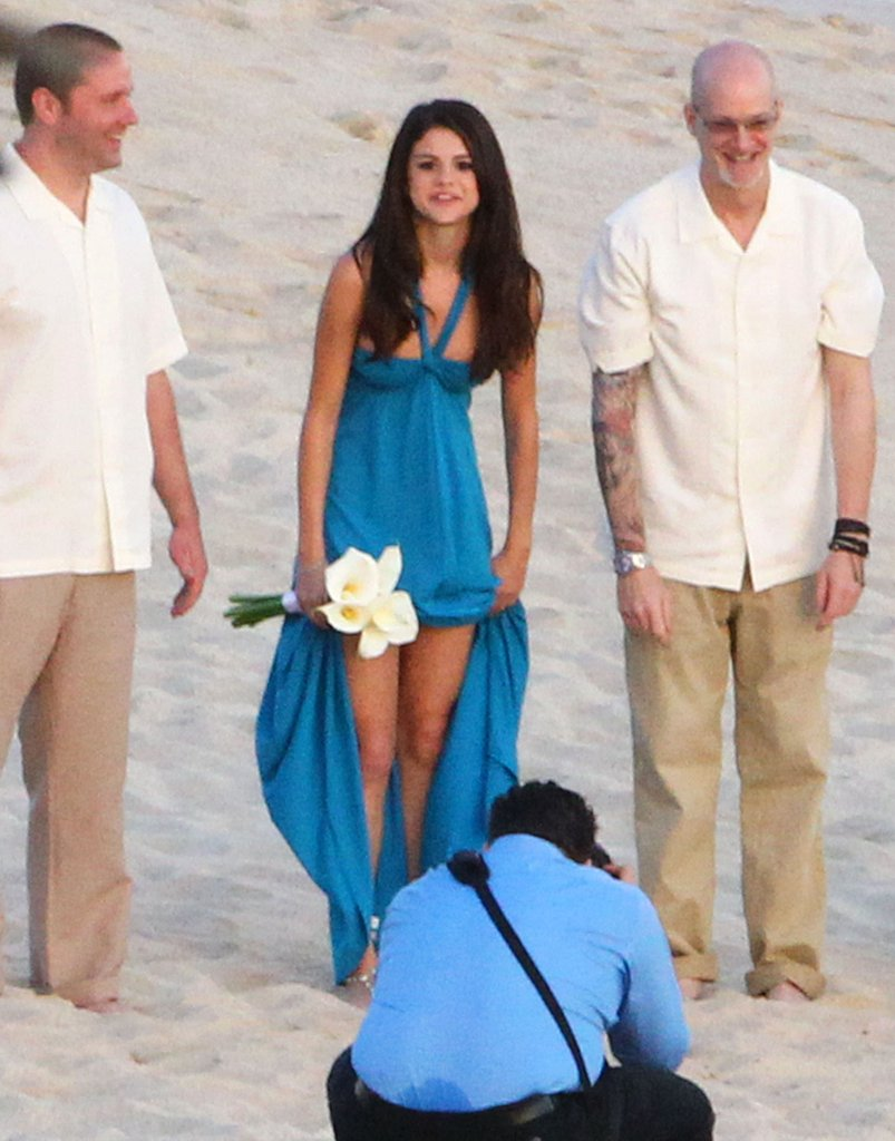 Selena Gomez got ready for a photo shoot for a friend's wedding.
